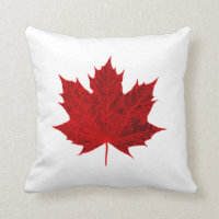 Vibrant Red Maple Leaf Throw Pillow