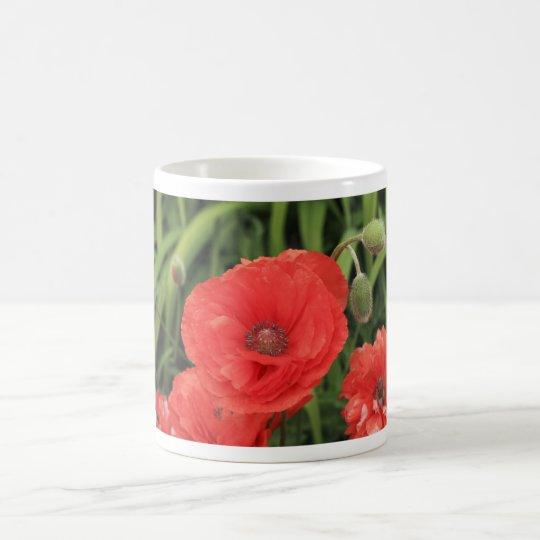 vibrant red poppy coffee mug