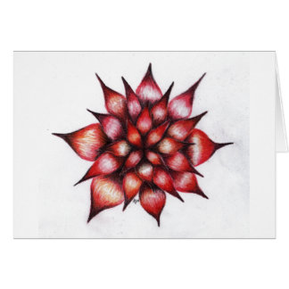 Vibrant Red Ray Flower Card