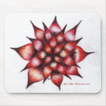Vibrant Red Ray Flower Mouse Pad