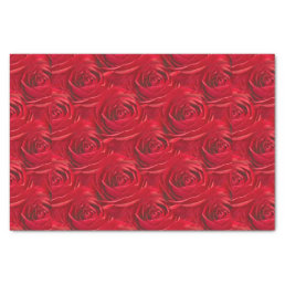 Vibrant Red Rose Floral Photo Abstract Pattern Tissue Paper