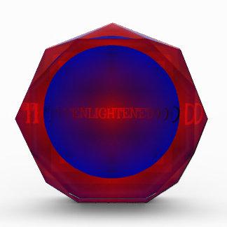 "Vibrant Red Royal Blue ""Enlightened"" Pattern Acrylic Award"