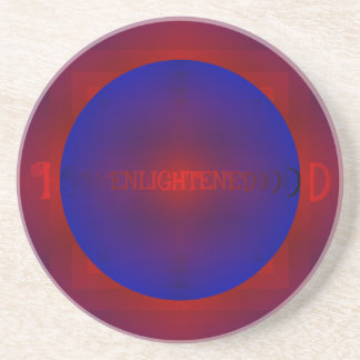 "Vibrant Red Royal Blue ""Enlightened"" Pattern Coaster"