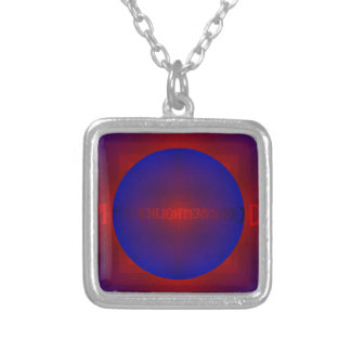 "Vibrant Red Royal Blue ""Enlightened"" Pattern Silver Plated Necklace"