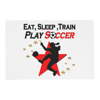 VIBRANT RED SOCCER PLAYER DESIGN PLACEMAT