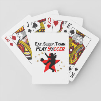 VIBRANT RED SOCCER PLAYER DESIGN PLAYING CARDS