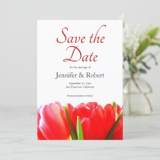 Vibrant Red Tulips Save the Date Invitation