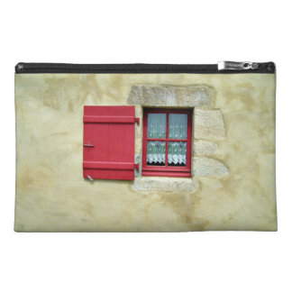 Vibrant Red Window Frame In A Yellow Wall Travel Accessories Bag