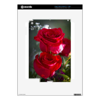 Vibrant Romantic Red Roses Decals For iPad 2