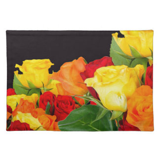 Vibrant Roses Black Background Cloth Placemat
