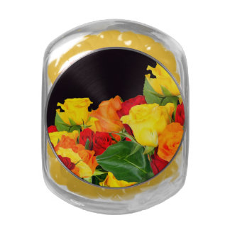 Vibrant Roses Black Background Jelly Belly Candy Jars