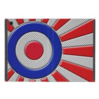 Vibrant Roundel Sunburst Design Carbon Fiber Style iPad Mini Cover