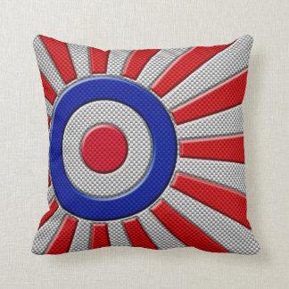 Vibrant Roundel Sunburst Design Carbon Fiber Style Pillow