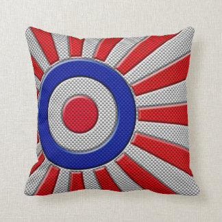Vibrant Roundel Sunburst Design Carbon Fiber Style Throw Pillow