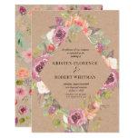 Vibrant Rustic Floral Kraft Wedding Invitation