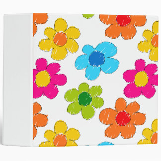 Vibrant sketchy flowers 3 ring binder