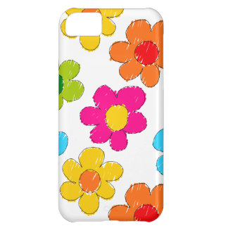 Vibrant sketchy flowers iPhone 5C cover