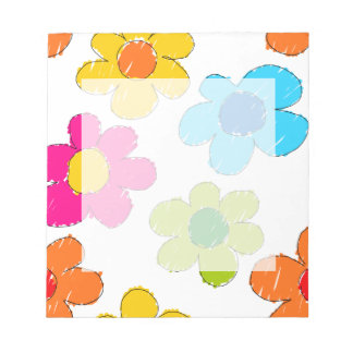Vibrant sketchy flowers notepad