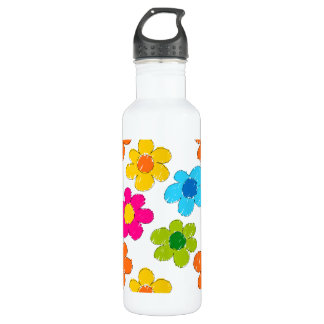 Vibrant sketchy flowers stainless steel water bottle