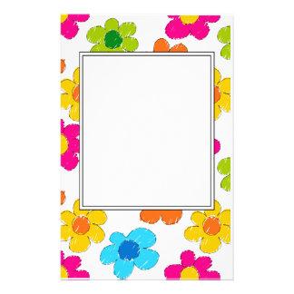Vibrant sketchy flowers stationery