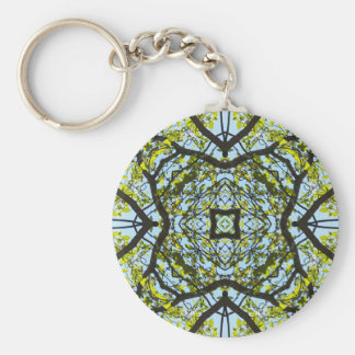 Vibrant Sky Through Trees Abstract Pattern Keychain