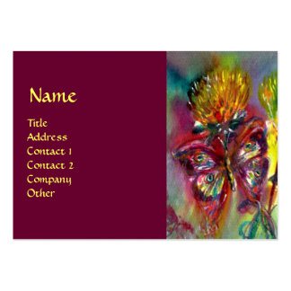 VIBRANT SPARKLING BUTTERFLIES IN BLUE,red Large Business Card