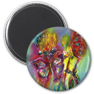 VIBRANT SPARKLING BUTTERFLIES IN BLUE,Teal 2 Inch Round Magnet