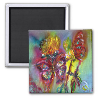 VIBRANT SPARKLING BUTTERFLIES IN BLUE,Teal 2 Inch Square Magnet