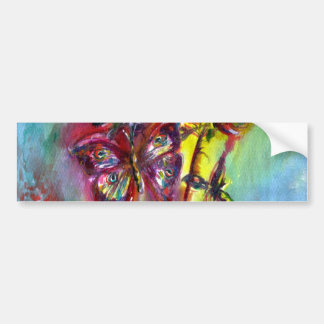 VIBRANT SPARKLING BUTTERFLIES IN BLUE,Teal Bumper Sticker