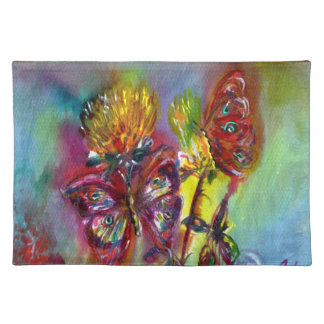 VIBRANT SPARKLING BUTTERFLIES IN BLUE,Teal Cloth Placemat