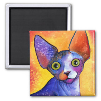 Vibrant sphynx cat 3 painting 2 inch square magnet