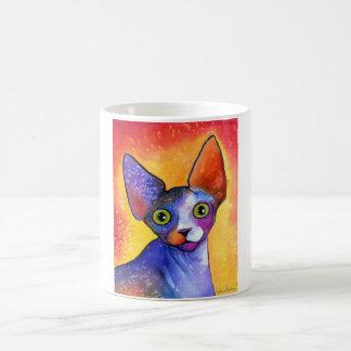 Vibrant sphynx cat 3 painting coffee mug
