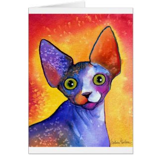 Vibrant sphynx cat 3 painting greeting card