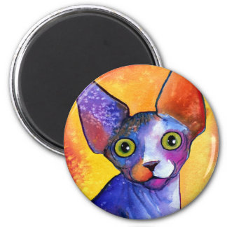 Vibrant sphynx cat 3 painting magnets