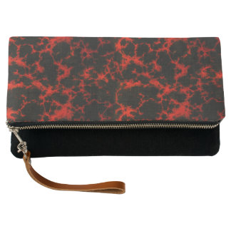 Vibrant Spotted Red and Black Flames Clutch