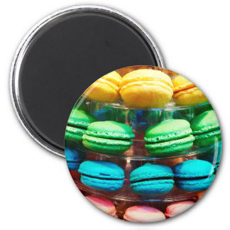 Vibrant Stacked French Macaron Cookies 2 Inch Round Magnet