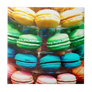 Vibrant Stacked French Macaron Cookies Tile