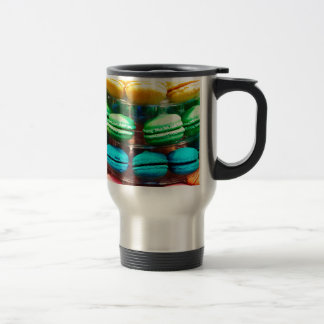 Vibrant Stacked French Macaron Cookies Travel Mug
