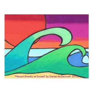 Vibrant Streaks at Sunset Postcard
