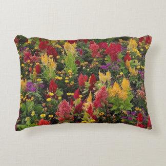Vibrant Summer Flower Garden in Orlando Florida Accent Pillow