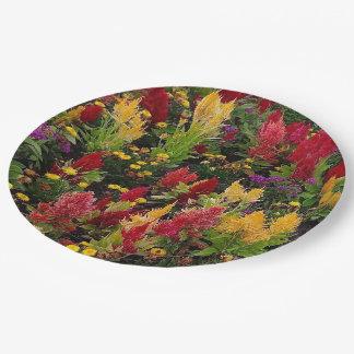 Vibrant Summer Flower Garden in Orlando Florida Paper Plate