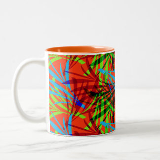 Vibrant Summery Tropical Leafy Abstract Patterned Two-Tone Coffee Mug