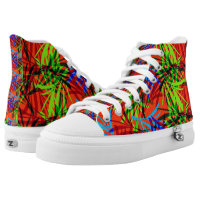 Vibrant Summery Tropical Leafy Print High-Top Sneakers