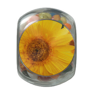 Vibrant Sunflower Glass Candy Jar