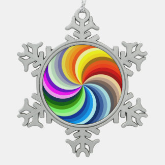 Vibrant Swirls Snowflake Pewter Christmas Ornament