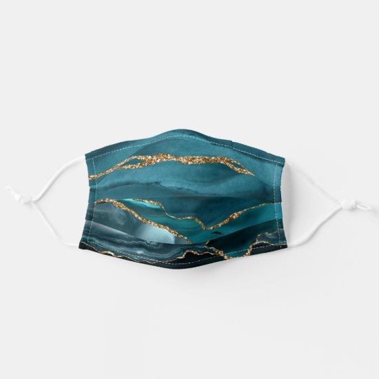 Vibrant Teal and Gold Agate Pattern Adult Cloth Face Mask