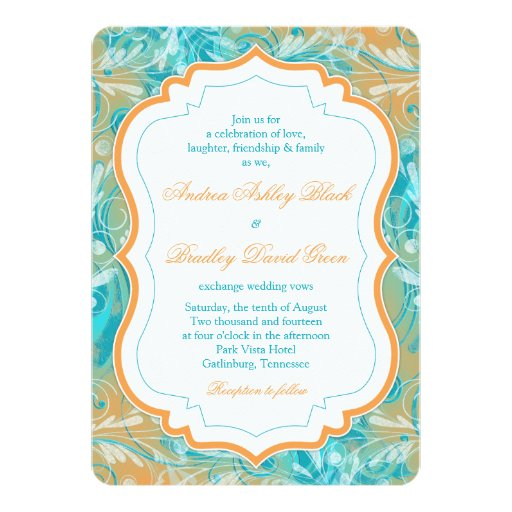 Vibrant Teal And Orange Floral Wedding Invitation Zazzle