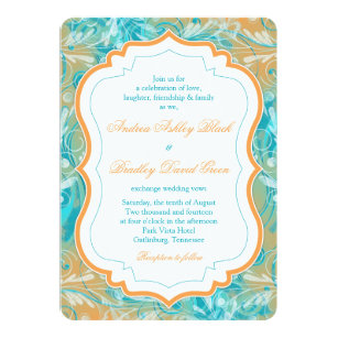 Vibrant Teal And Orange Fl Wedding Invitation