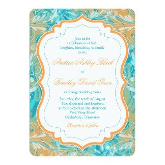 Vibrant Teal and Orange Floral Wedding Invitation