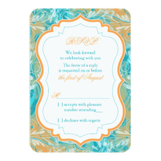 Vibrant Teal and Orange Floral Wedding RSVP Reply Card
